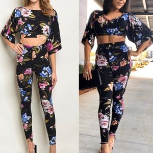 Black blue & purple floral crop top and pants set